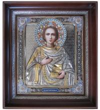 Ікона Святий великомученик і цілитель Пантелеймон - Шикарна ікона з сріблом і позолотою, писаний лик (СФ-ВП-01)