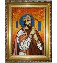 Икона Святой Владимир Равноапостольный - именная икона из янтаря (ар-247)