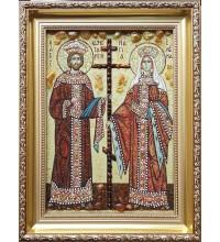 Ікона святі Костянтин і Олена - ікона з янтаря (ар-344)