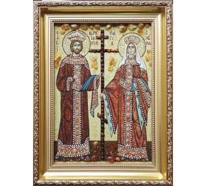 Икона святые Константин и Елена - икона из янтаря (ар-344)