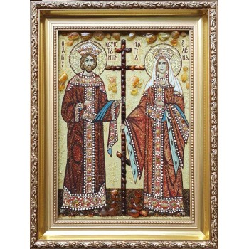 Икона святые Константин и Елена янтарная икона ручной работы купить    Иконный Двор Киев
