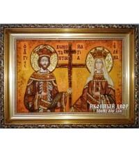 Ікона святі Костянтин і Олена - янтарна ікона ручної роботи (Костянтин і Олена)
