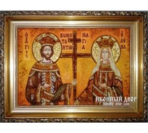 Икона святые Константин и Елена - янтарная икона ручной работы (Константин и Елена)