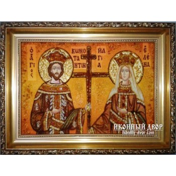 Ікона з янтаря святі Костянтин і Олена - купити ікону В Києві || Іконний Двір