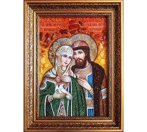 Икона Святые Петр и Феврония Муромские, покровители семьи - икона с янтарем (ар-368)