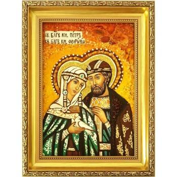 Икона Святые Петр и Феврония, покровители семьи - икона с янтарем (ар-339)