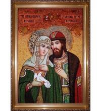 Икона Святых Петра и Февронии, покровителей семьи - красивая икона с янтарем 40х60 см (ар-395)