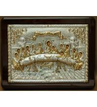Икона Тайная Вечеря - достойная работа с камнями и серебром  (E136)