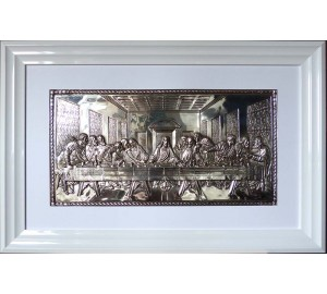 Икона Тайная вечеря - эксклюзивная икона с серебром, в красивом белом багете (лтв-09)