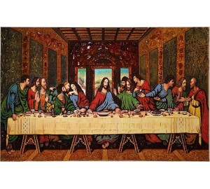 Икона Тайная вечеря - икона из янтаря, 50*80 см (ар-98)