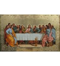 Икона Тайная вечеря - писаная икона с золотом (Дм-16)