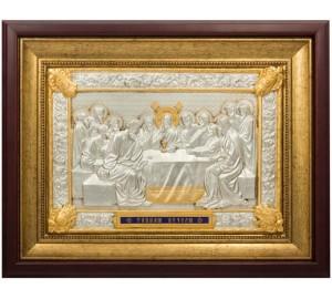 Икона Тайная Вечеря - шикарная икона с золотом и серебром (k-08)