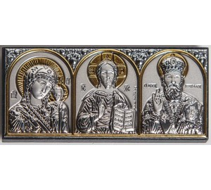 Икона трех святых - аккуратная автомобильная икона с серебром (EK0XBG)