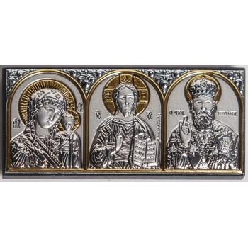 Ікона трьох святих - акуратна автомобільна ікона з сріблом (EK0XBG)