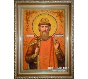Ікона Володимир Рівноапостольний - Розкішна ікона із бурштином (ар-13)
