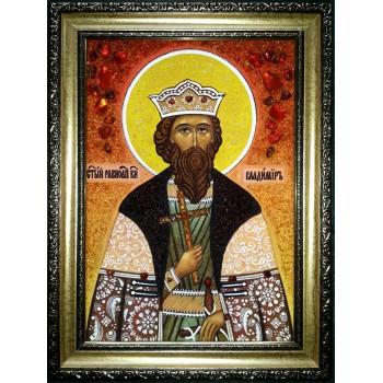 Икона Владимира Равноапостольного - икона из янтаря (ар-283)
