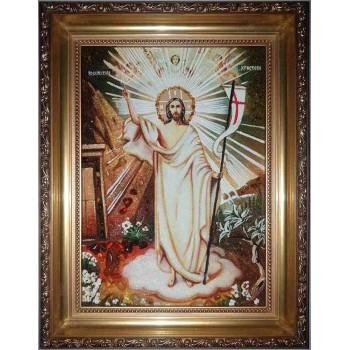 Икона Воскресение Христово - Ручная работа, икона из янтаря (ар-14)