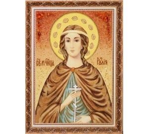 Икона Юлия (Иулия) из янтаря, 40*60 см (ар-101/1)