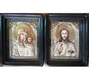 Иконы Божья Матерь Казанская и Господь Вседержитель - иконы в окладе с серебром (Хм-36)