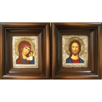 Иконы для свадьбы Иисус Христос и Казанская Божья Матерь - писаные иконы с серебром (Гр-75)