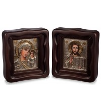 Иконы  для свадьбы Казанская Божья Матерь и Спаситель - иконы в окладе с серебром, батик (Хм-200)