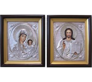 Иконы для венчания Спаситель и Божья Матерь Казанская - писаные иконы, с серебром (Гр-95)