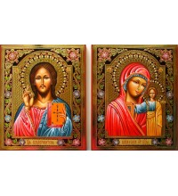 Иконы Господь Вседержитель и Казанская Богородица - писаные иконы (Гр-57)