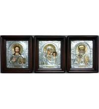Ікони Господь Вседержитель, Казанська Богородиця і святий Миколай - писані ікони з сріблом (Хм-72)