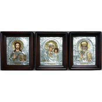 Иконы Господь Вседержитель, Казанская Богородица и святой Николай - писаные иконы с серебром (Хм-72)