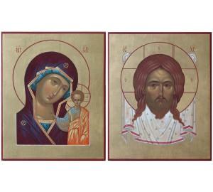 Иконы Спас Нерукотворный и Божья Матерь Казанская - писаные иконы (Ир-33)