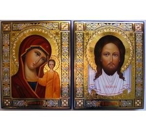 Иконы Спас Нерукотворный и Казанская Богородица (Гр-91)