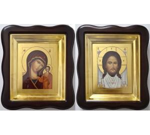 Иконы Спас Нерукотворный и Казанская Богородица - писаные иконы, с сусальным золотом (Гр-95)