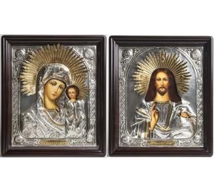Ікони в окладі з сріблом і позолотою Господь і Казанська Богородиця (Хм-27)