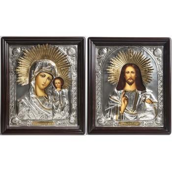Иконы в окладе с серебром и позолотой Господь и Казанская Богородица (Хм-27)