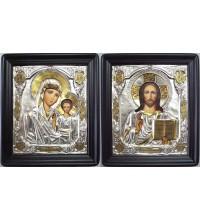 Ікони в окладі з сріблом і позолотою Ісус і Казанська Божа Мати (Хм-23)