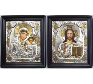 Иконы в окладе с серебром и позолотой Иисус и Казанская Божья Матерь (Хм-23)