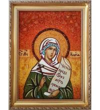 Илария - именная икона из янтаря, помощница в семейных проблемах и безбрачии (ар-145)