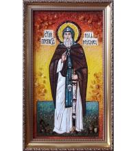 Илия муромец, Печерский - икона с янтарем 30*50 см (ар-73)