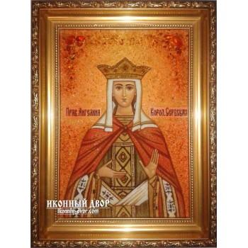 Именная икона Ангелина - икона из янтаря 30х40 см  (ар-210/1)