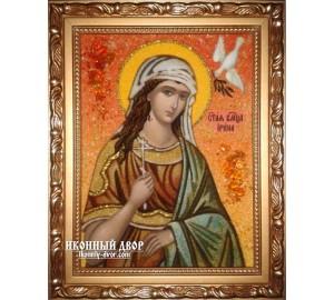 Именная икона Ирина - икона ручной работы из янтаря (ар-205)