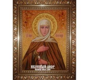 Именная икона Святая Анна - красивая икона из янтаря (ар-214)