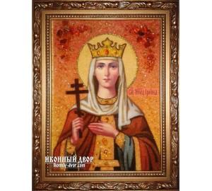 Именная икона Святая великомученица Ирина - икона из янтаря (ар-208)