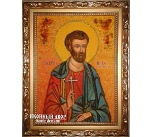 Инна, святой мученик - икона из янтаря, ручная работа (ар-186)