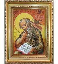 Иоанн Богослов - икона с янтарем, ручная работа (ар-304)