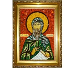 Иоанн Дамаскин - икона из янтаря (ар-325)