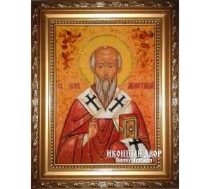 Іоанн Милостивий - Іменна ікона з янтаря (ар-139)