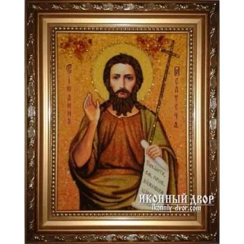 Иоанн Предтеча - Качественная икона из янтаря, ручная работа (ар-125)