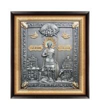 Иоанн Воин - икона с серебром в дубовом киоте (юл-17)