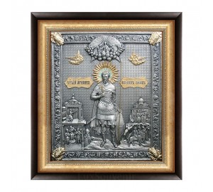 Іоанн Воїн - ікона з сріблом в дубовому кіоті (юо-17)
