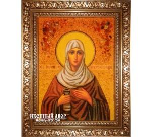 Иоанна - красивая именная икона из янтаря ручной работы (ар-197)